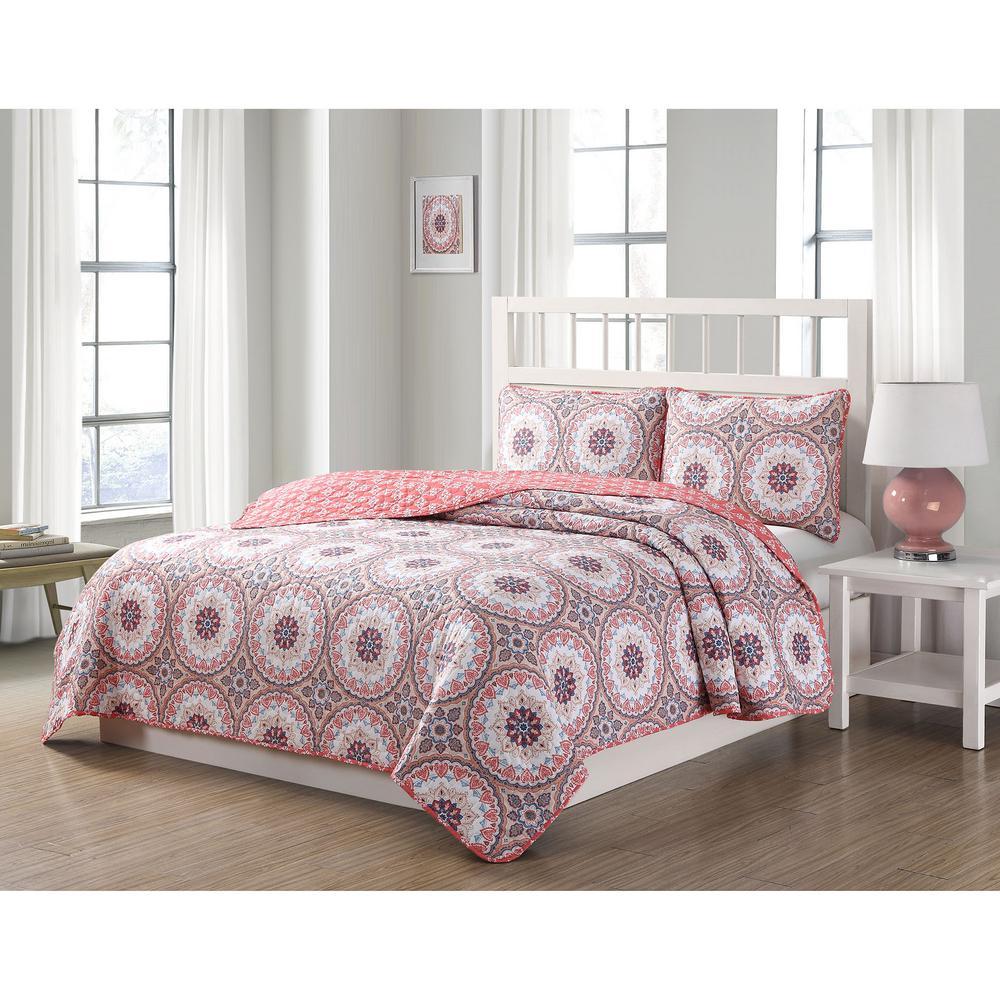 Darma 3-Piece Pink/Blue/White Queen Reversible Quilt Set