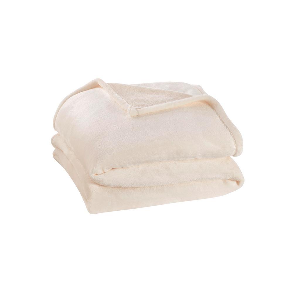 Home Decorators Collection Plush Ivory Full/Queen Fleece Blanket