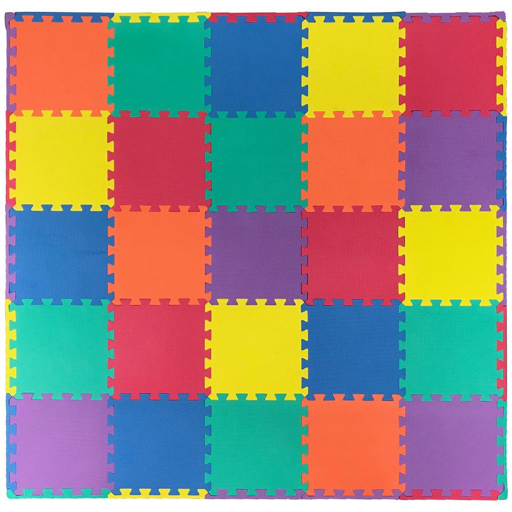 Multi-Purpose Multi-Color 12 in. x 12 in. EVA Foam Interlocking Anti-Fatigue Exercise Tile Mat (25-Pack)