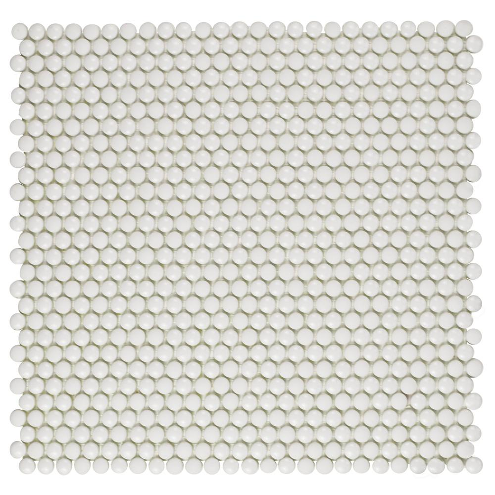 Merola Tile Expressions Button White 12-1/2 in. x 12-3/4 in. x 7 mm Glass Mosaic Tile
