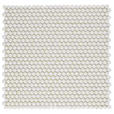 Expressions Button White 12-1/2 in. x 12-3/4 in. x 7 mm Glass Mosaic Tile