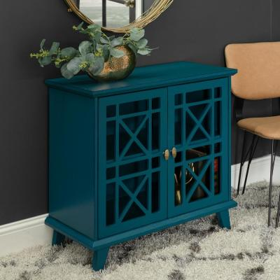 "32"" Decorative Fretwork Accent Storage Cabinet - Blue"