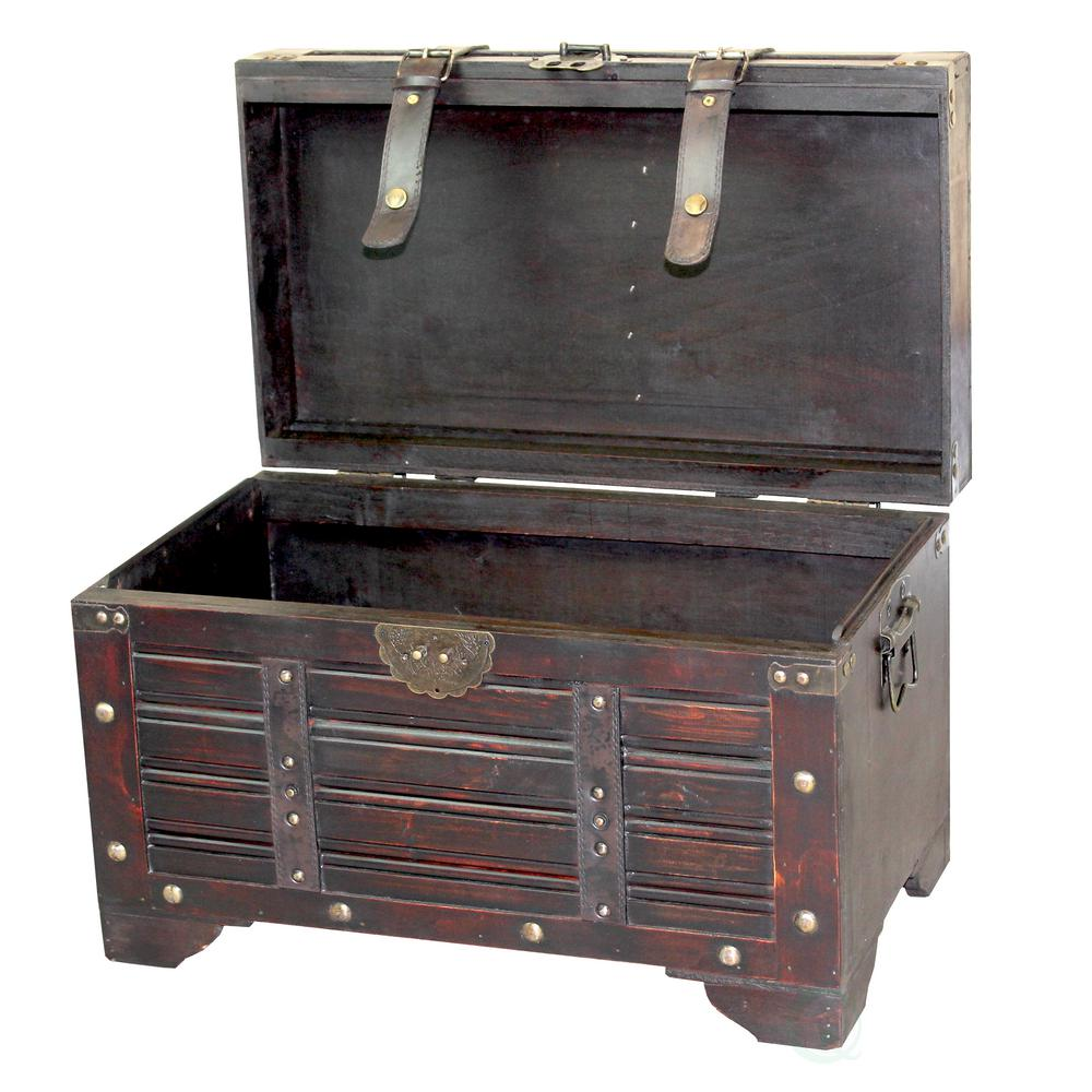 Decorative Antique Cherry Style Wooden Storage Trunk with Faux Leather Straps