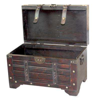 Wood storage trunks storage organization the home depot decorative antique cherry style wooden storage trunk with faux leather straps gumiabroncs