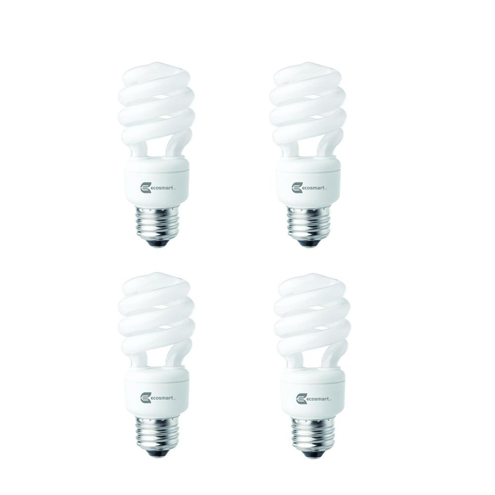 EcoSmart 60-Watt Equivalent E26 Spiral CFL Light Bulb Daylight (4-Pack)