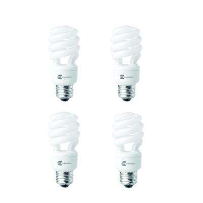 60-Watt Equivalent Spiral Non-Dimmable E26 CFL Light Bulb Daylight (4-Pack)