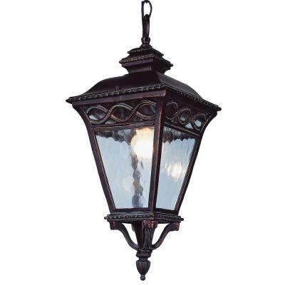 2-Light Outdoor Burnished Bronze Hanging Lantern With Seeded Glass