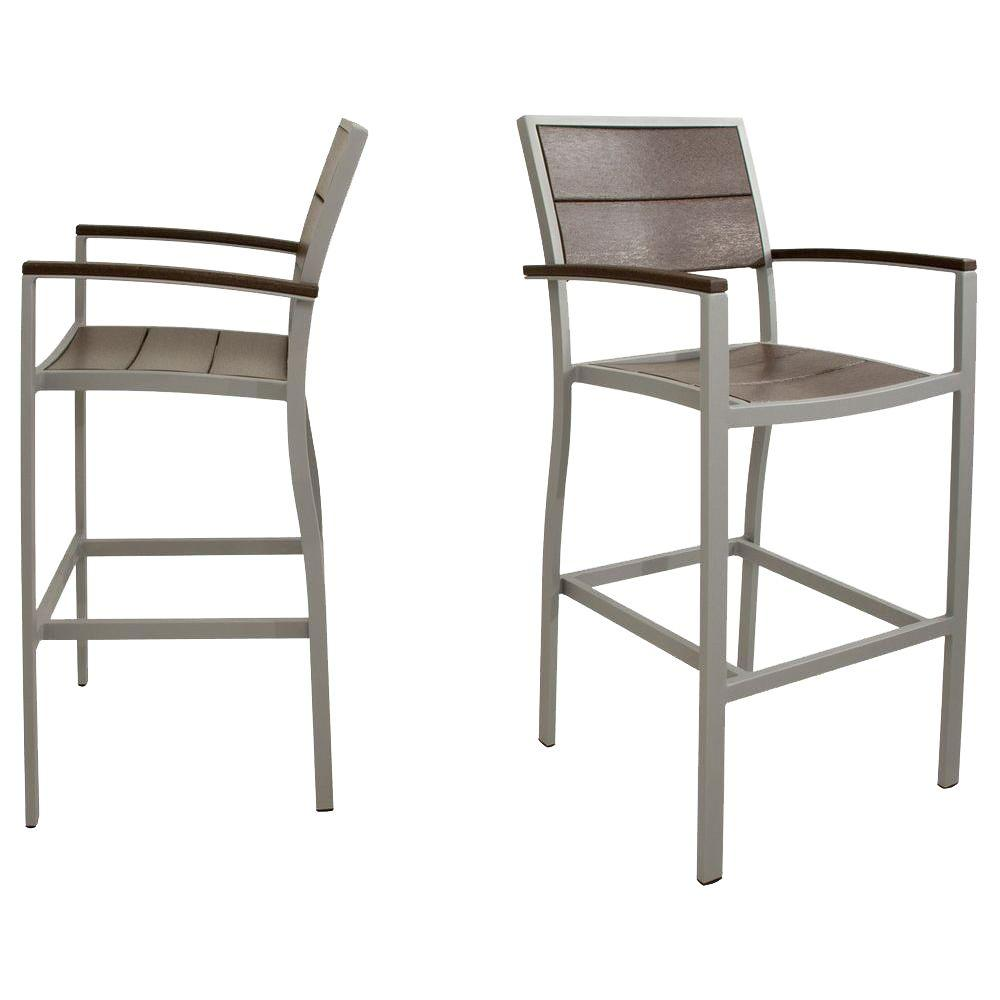 Trex Outdoor Furniture Surf City Textured Silver 2-Piece Patio Bar Chair Set with Vintage Lantern Slats