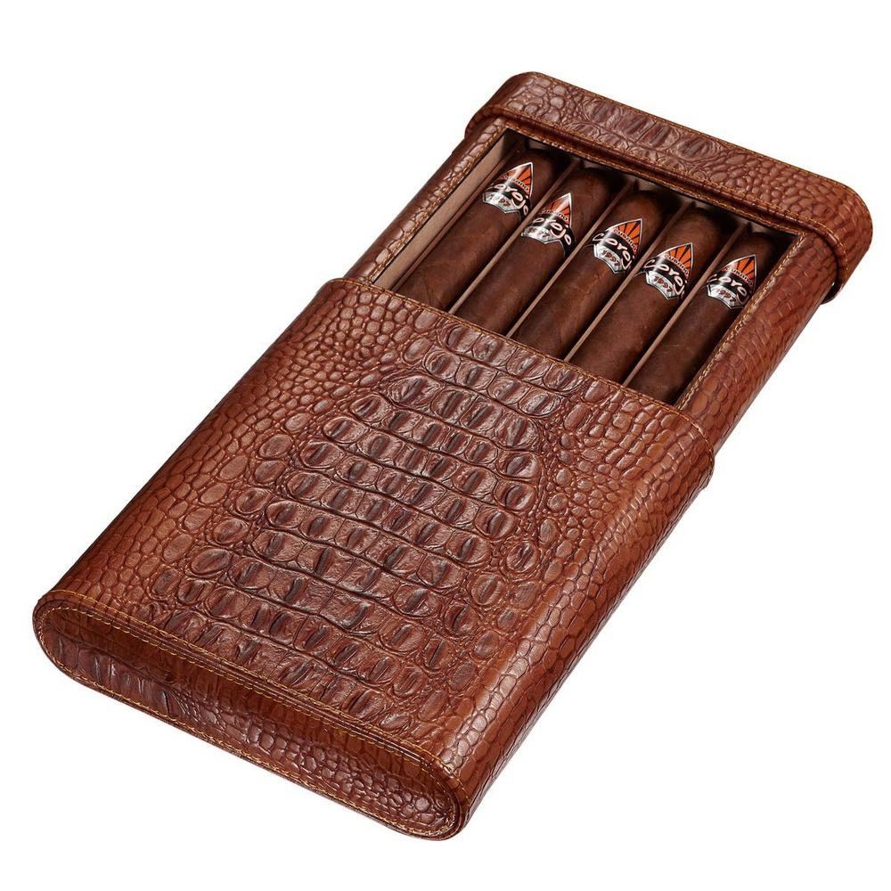 Visol Rennes Brown Croco Leather Travel Humidor Holds 5-Cigar Case, Browns/Tans The Visol Rennes Crocodile Patterned leather travel case stores up to 5 of your favorite cigars in a cedar rest. With a detachable humidifier, this case keeps your cigars in pristine condition when traveling. Not only does the travel case keep your cigars fresh and fragrant while traveling, but also has a crocodile patterned exterior making it look exotic and exclusive. Color: Browns / Tans.