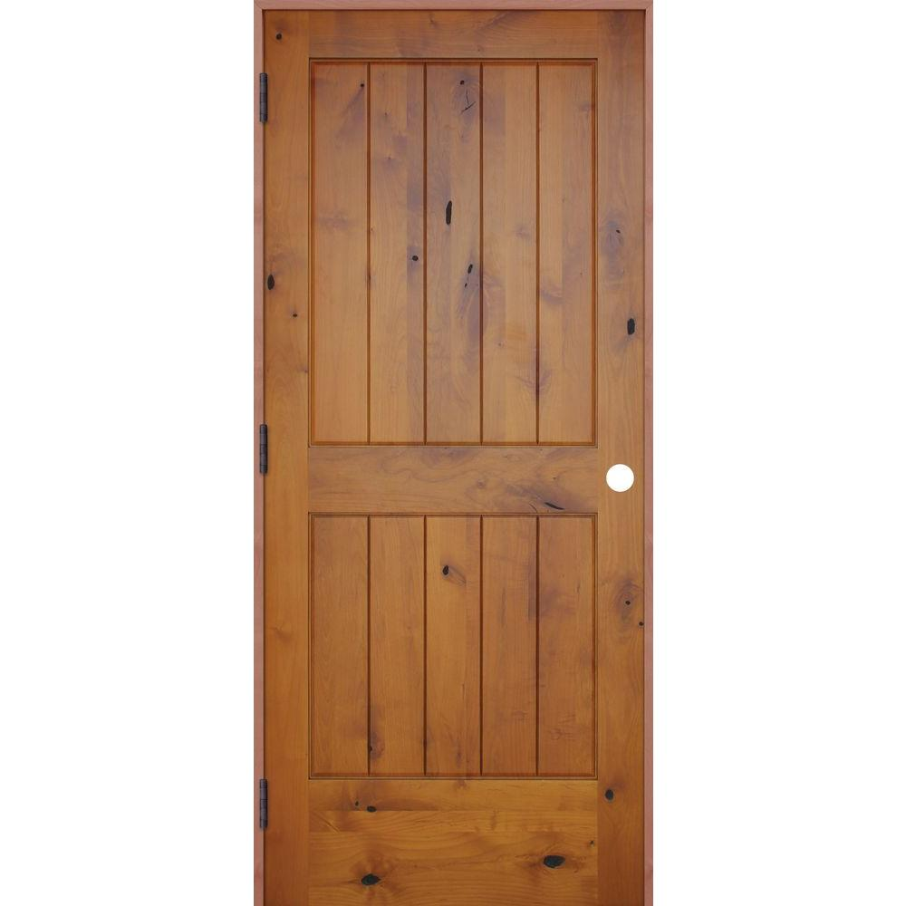 Pacific entries 18 in x 80 in rustic prefinished 2 panel v groove solid core knotty alder wood for Solid wood panel interior doors
