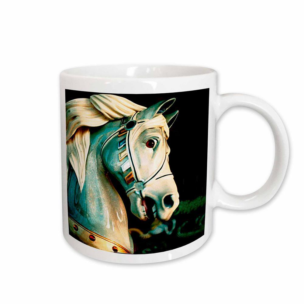 11 oz. White Ceramic Carousel Horse Mug