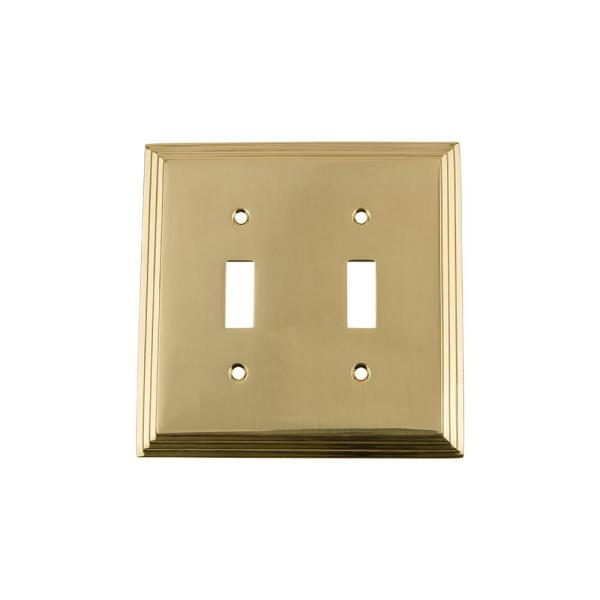 Nostalgic Warehouse Brass 2 Gang Toggle Wall Plate 1 Pack 719927 The Home Depot
