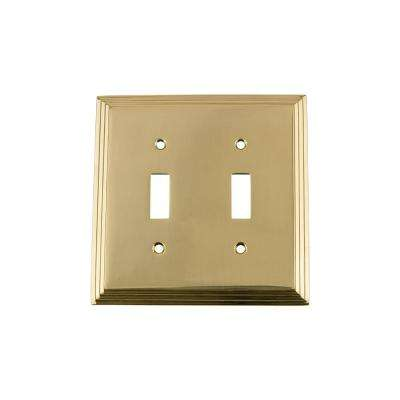 Deco Switch Plate with Double Toggle in Polished Brass