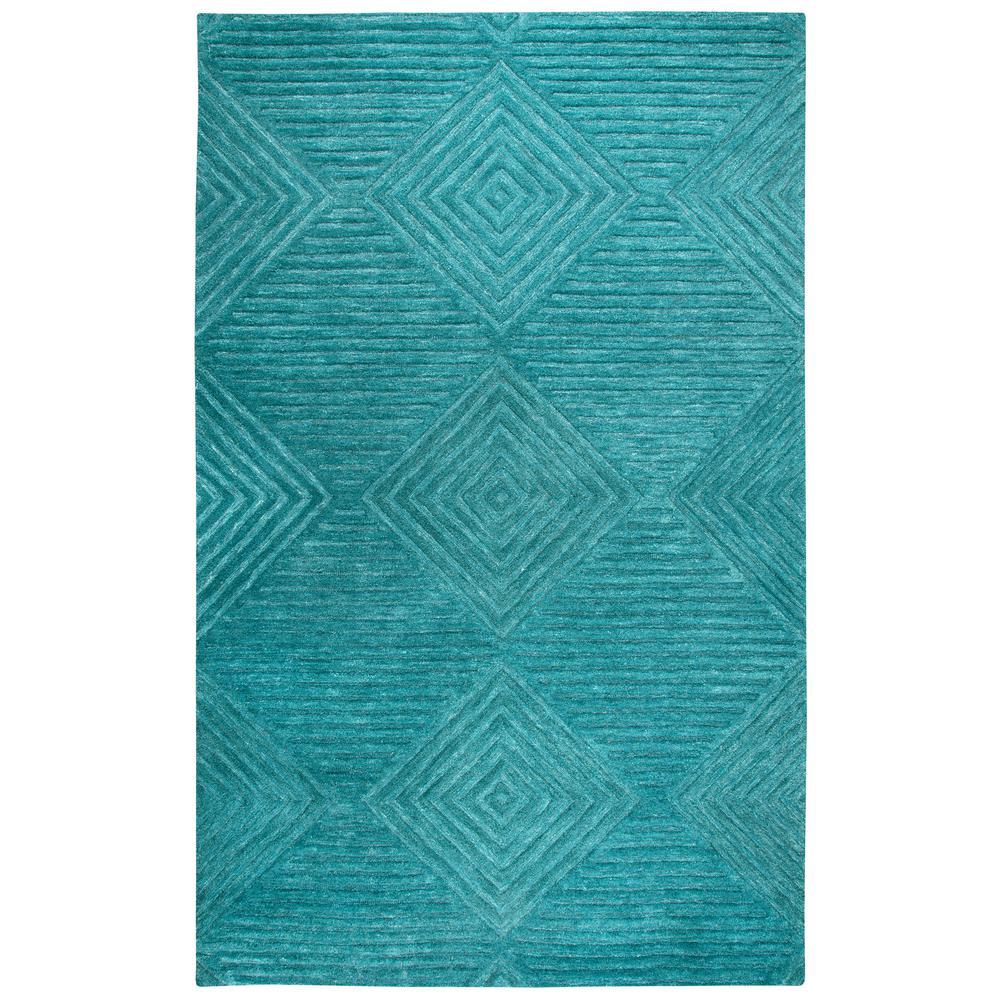 Idyllic Teal Blue Geometric 9 Ft X 12 Area Rug