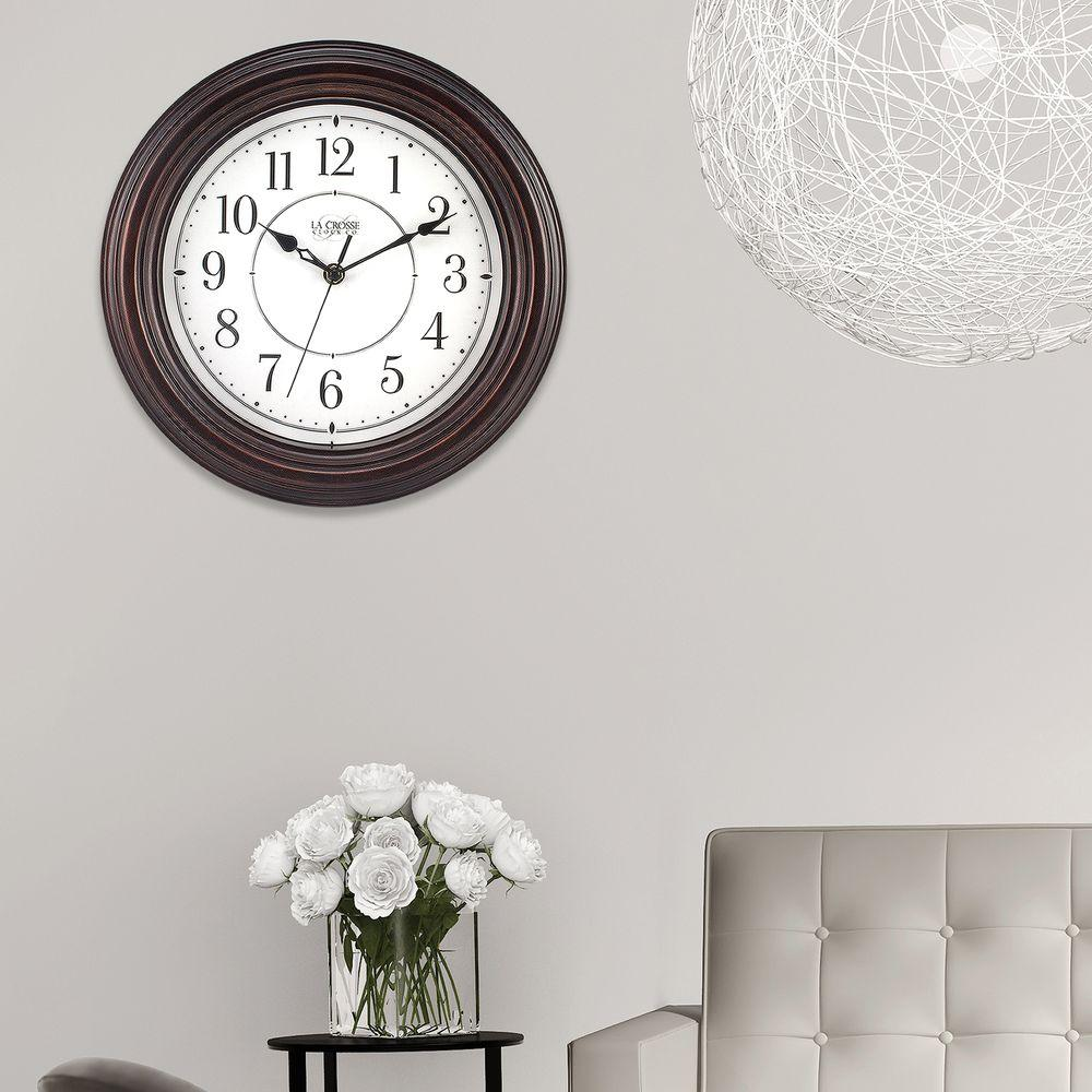 12 in. H Round Brown Plastic Wall Clock with Silent Movement