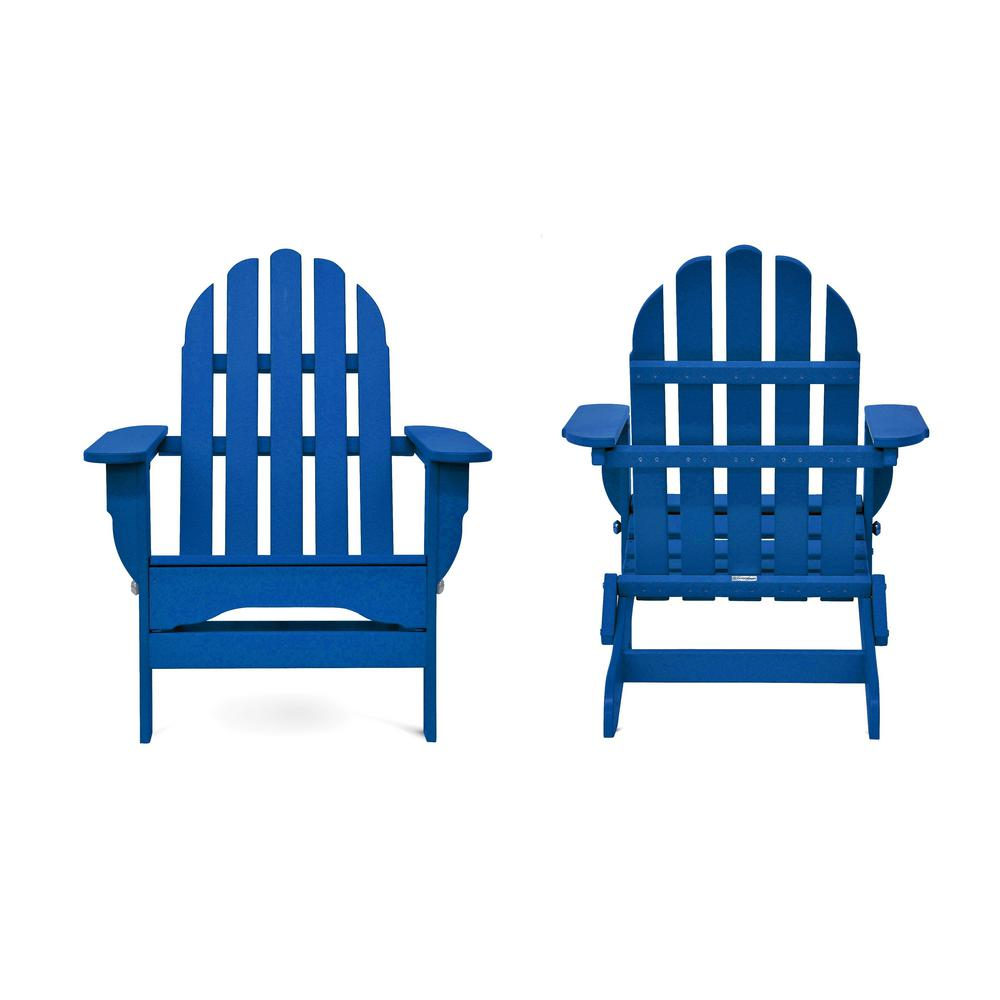 Icon Royal Blue Recycled Plastic Folding Adirondack Chair (2-Pack)