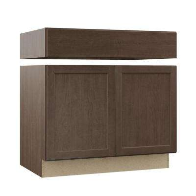 Shaker Assembled 36 in. x 34.5 in. x 24 in. Accessible Sink Base Kitchen Cabinet in Brindle