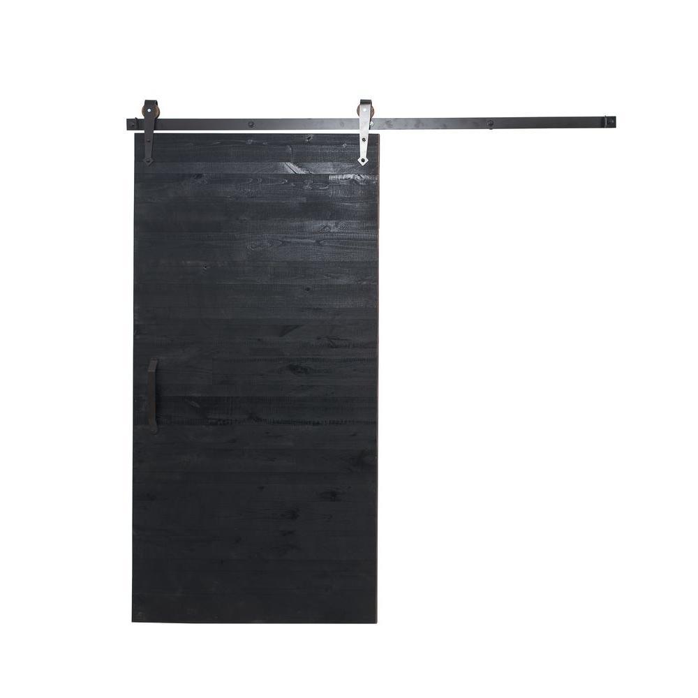 36 in. x 84 in. Reclaimed Matte Black Wood Barn Door with Arrow Sliding Door Hardware Kit