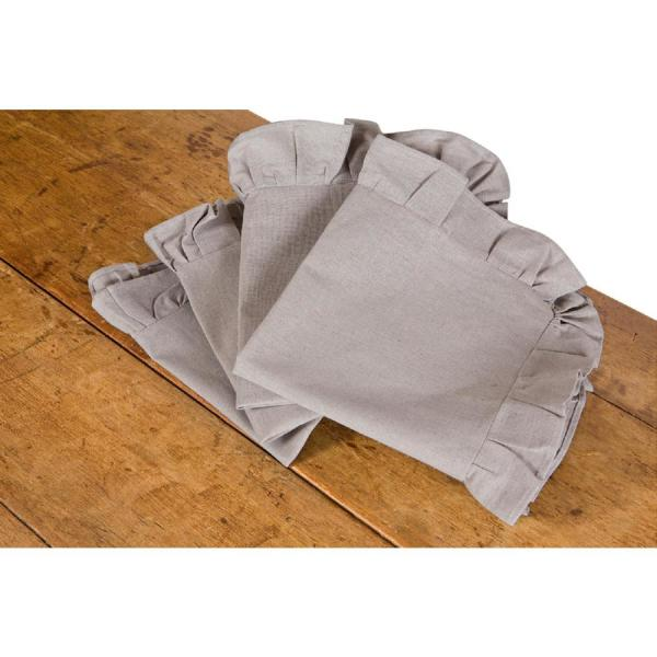 Ruffle Trim 20 in. x 20 in. Solid Taupe Napkins (Set of 4)