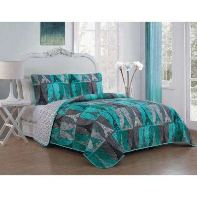 Cannes 3-piece Teal King Quilt Set