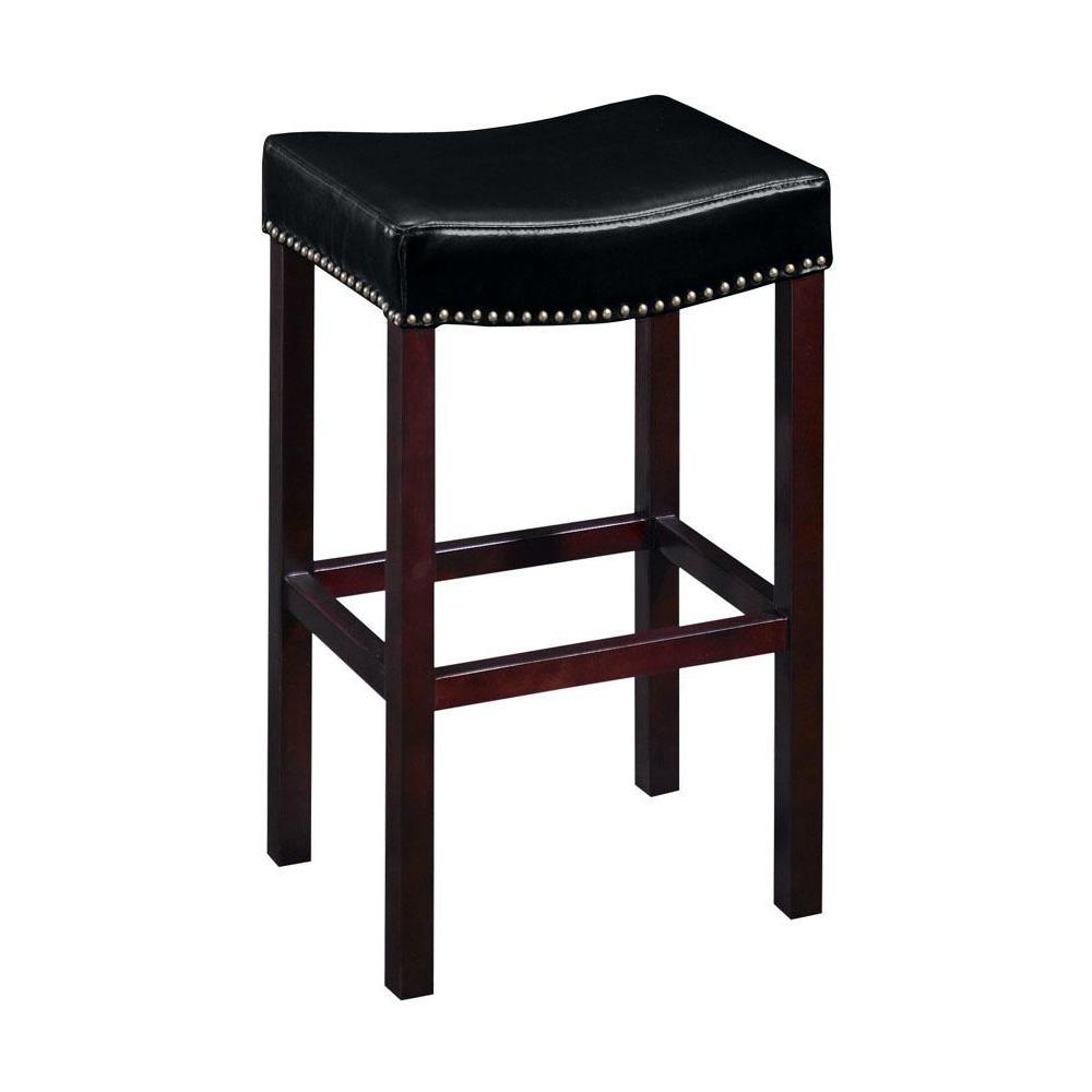 Home Decorators Collection 30 In H Black Cushioned Curved Nailhead Bar Stool 5772810210 The