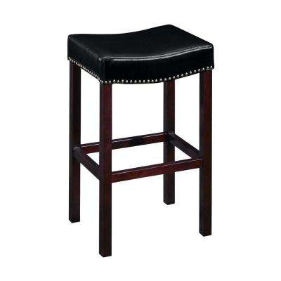 30 in. H Black Cushioned Curved Nailhead Bar Stool