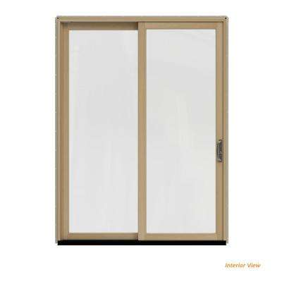 72 in. x 96 in. W-2500 Contemporary Desert Sand Clad Wood Left-Hand Full Lite Sliding Patio Door w/Unfinished Interior