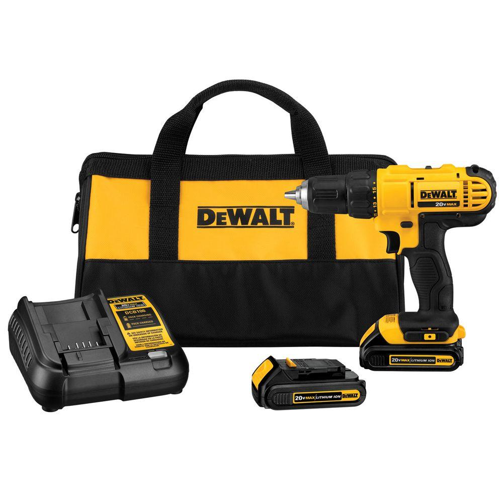 DEWALT 20-Volt MAX Lithium-Ion Cordless 1/2 in. Drill/Driver Kit with (2) Batteries 1.3Ah, Charger and Contractor Bag