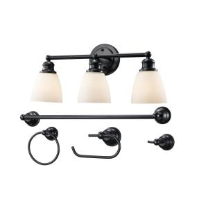 HomeDepot.com deals on Bel Air Lighting 3-Light Rubbed Oil Bronze Vanity Light Set