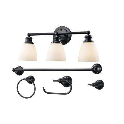 3-Light Rubbed Oil Bronze Vanity Light Set with Opal Shades