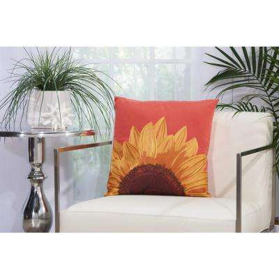 Embroidered Sunflower 18 in. x 18 in. Coral Indoor and Outdoor Pillow