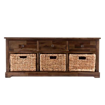 Clyde Antiqued Brown Storage  Bench
