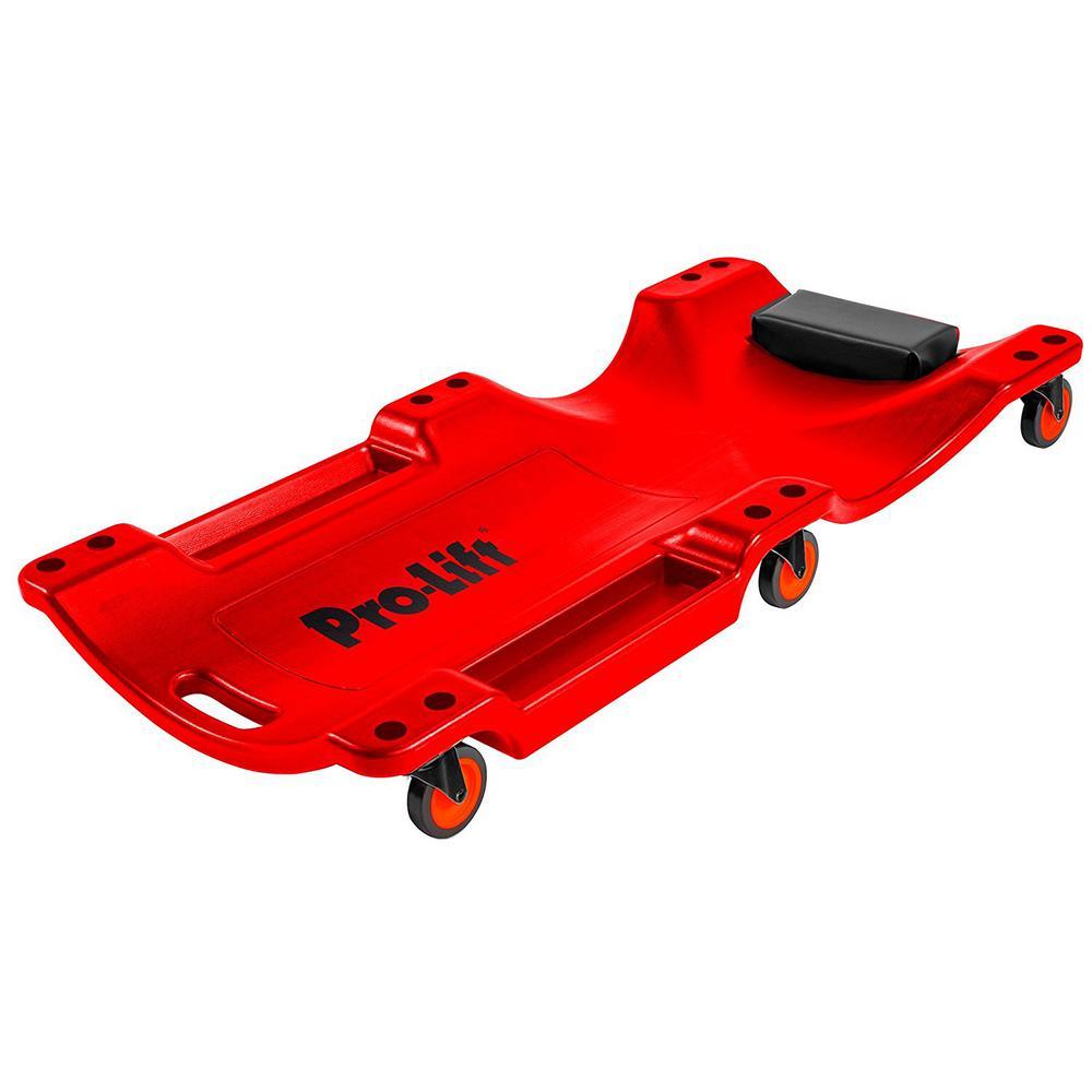 Mechanic Plastic Creeper 40 in. - Ergonomic HDPE Body with Padded Headrest Dual Tool Trays - 350 lbs. Capacity