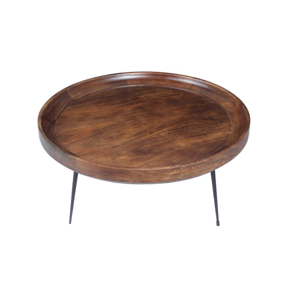 The Urban Port Round Brown And Black Coffee Table With