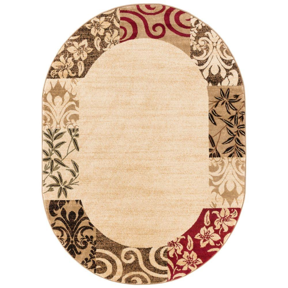 Well Woven Barclay Vane Willow Damask Beige 5 ft. 3 in. x 6 ft. 10 in. Transitional Border Oval Area Rug