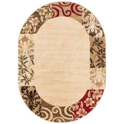 Barclay Vane Willow Damask Beige 5 ft. x 7 ft. Transitional Border Oval Area Rug