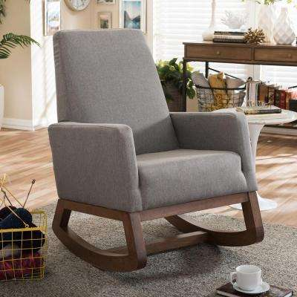 yashiya midcentury gray fabric upholstered rocking chair