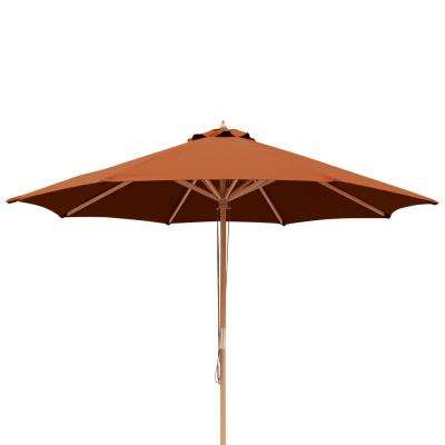 Tranquility 9 ft. Hardwood Market Umbrella with Weather-Resistant Terra Cotta Olefin Canopy, Wind Vent