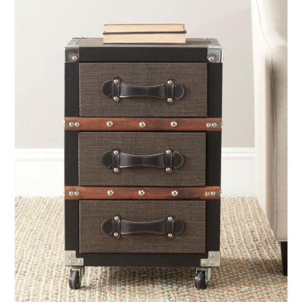 Safavieh Lewis Black and Brown Mobile End Table FOX9506A