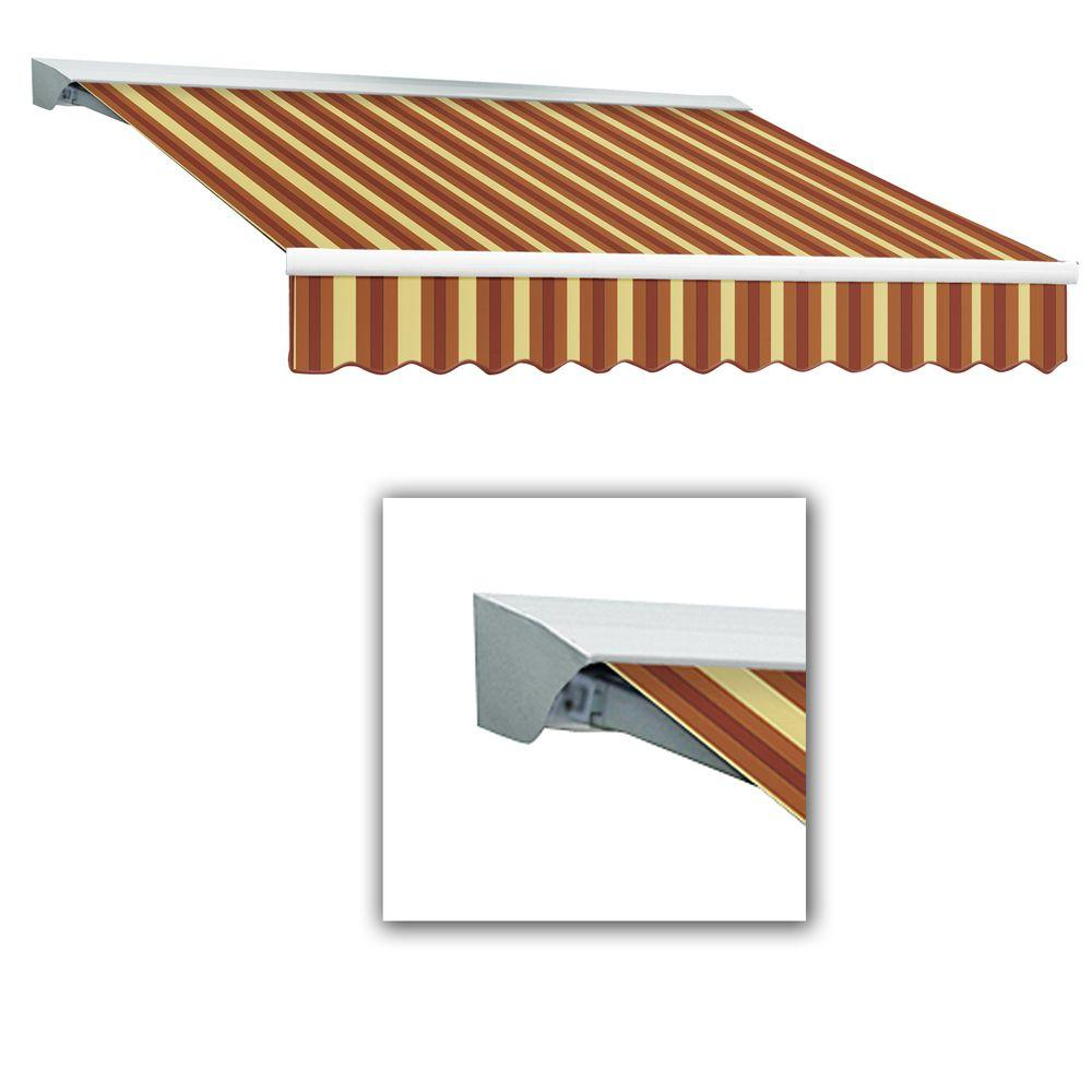 AWNTECH 12 ft. Destin-LX Manual Retractable Acrylic Awning with Hood (120 in. Projection) in Burgundy/Tan Wide