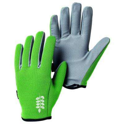 Garden Short Size 7 Small Fitted Short-Cuffed Gardening Gloves with PU Palm and Fingers in Green/Grey