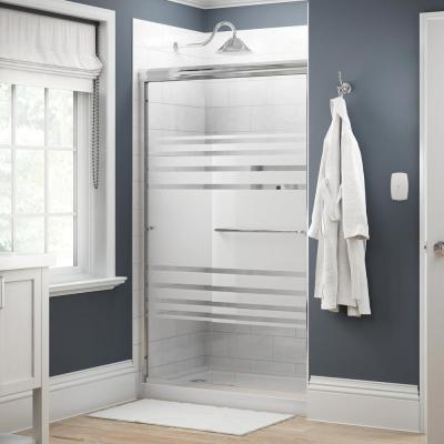 Simplicity 48 in. x 70 in. Semi-Frameless Traditional Sliding Shower Door in Chrome with Transition Glass