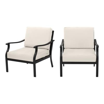 Riley Black Steel Outdoor Patio Lounge Chair with CushionGuard Almond Cushions (2-Pack)