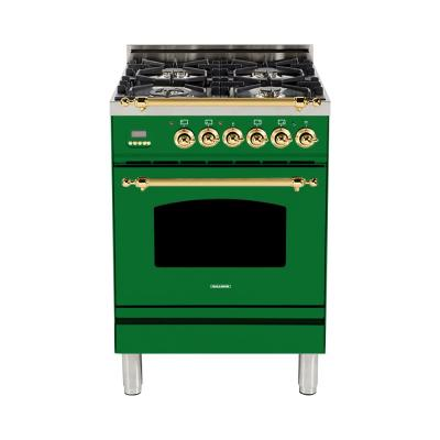 24 in. 2.4 cu. ft. Single Oven Dual Fuel Italian Range with True Convection, 4 Burners, Brass Trim in Emerald Green
