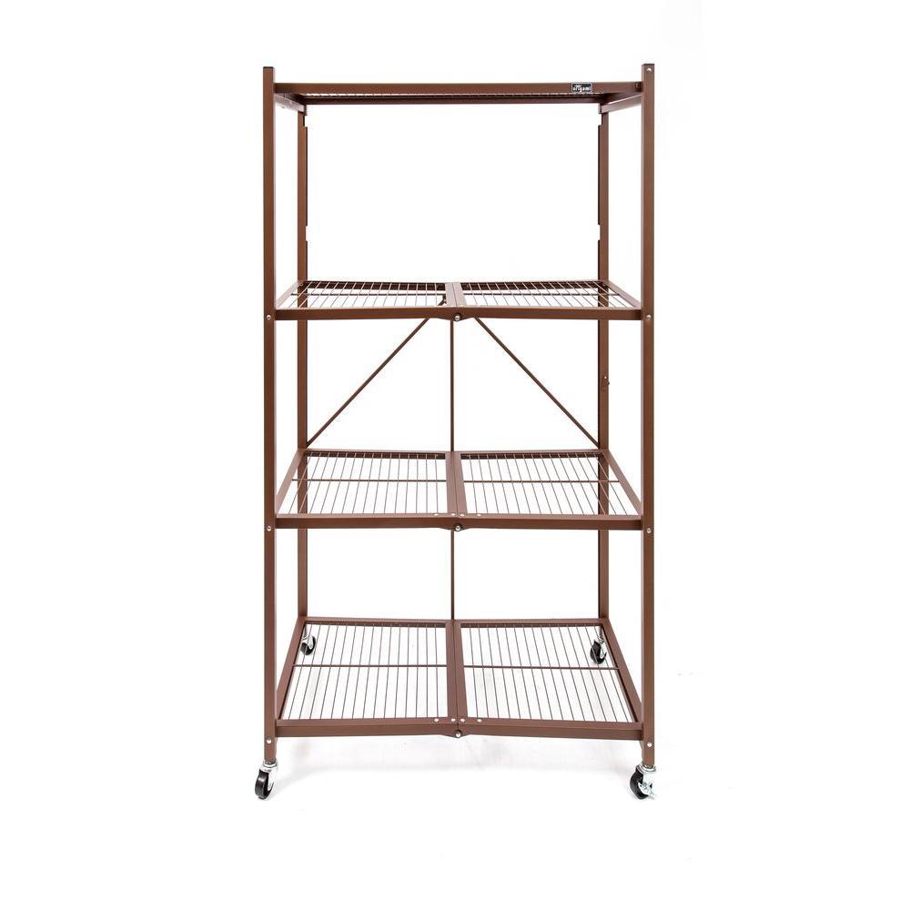 36 in. W x 60 in. H x 20 in D 4-Tier Bronze Steel Foldable Shelving Unit
