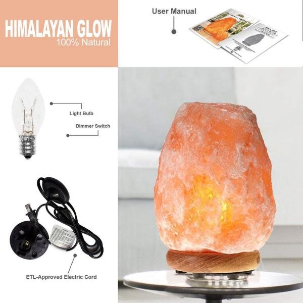 WBM Himalayan-8.32 in. Pink Ionic Hand Carved Natural Crystal Salt Lamp