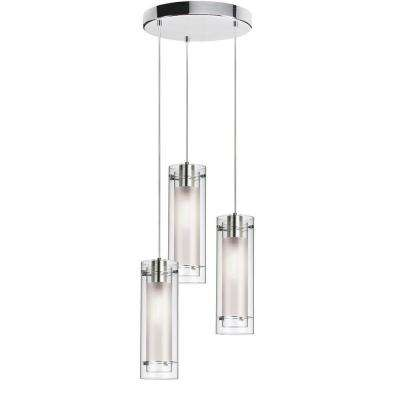 Nella 3-Light Polished Chrome Round Pendant with Clear Frosted Glass