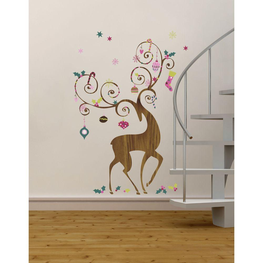 RoomMates 32 in. x 50 in. Ornamental Reindeer Peel and St...