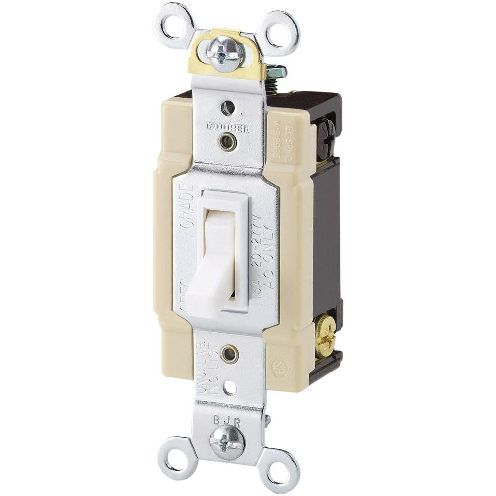 Eaton Standard Grade 15 Amp 4-Way Toggle Switch with Push and Side Wiring in White