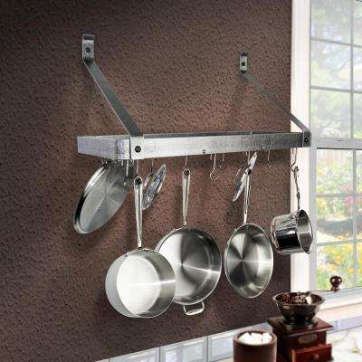 Handcrafted 24 in. Gourmet Bookshelf Wall Rack with Straight Arm with 12-Hooks Hammered Steel